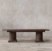 """SALVAGED WOOD ARCHITECTURAL COLUMN RECTANGULAR DINING TABLE NEW! Salvaged Brown 96"""" RESTORATION HARDWARE DINING TABLE"""
