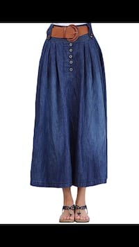 Women's Vintage Fitted Cotton Denim Pleated Long Maxi Skirt- By Youhan  Los Angeles, 91331
