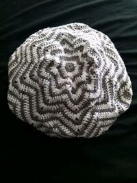 Gray and White Knit Beret Cap