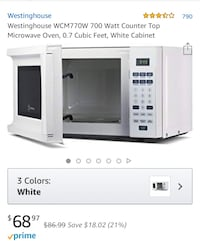 White microwave (1 year old) Westinghouse Arlington Heights, 60004