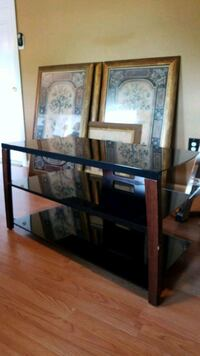 Glass wood and metal tv stand Feasterville-Trevose, 19053