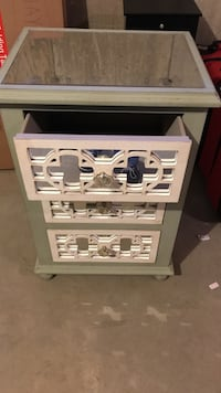 Sea foam green wooden 3-drawer chest
