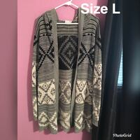 large size gray and white tribal cardigan Guadalupe, 93434