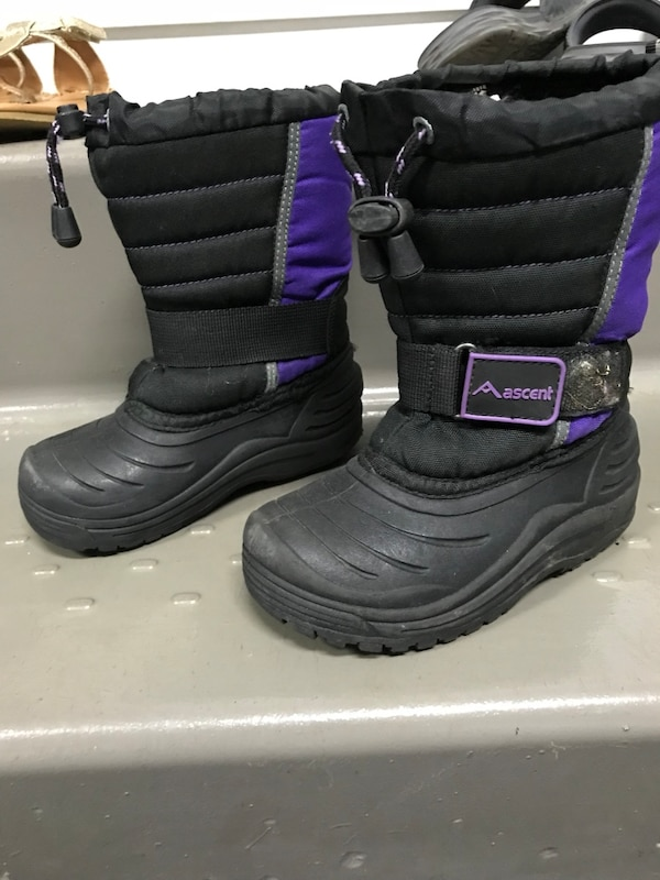Pair of black-and-purple boots