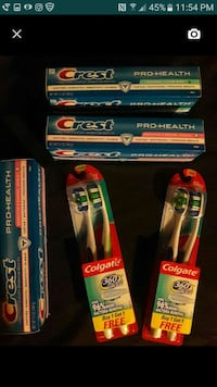 three crest boxes; two set of Colgate toothbrushes Lanham, 20706