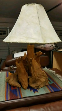 Real Driftwood Table Lamp w/hide lampshade