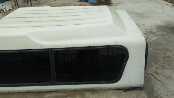 white and black camper shell