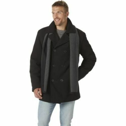 Nuvano Men's Big/Tall Double-Breasted Peacoat Sz 3XL  NEW