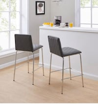 "Quilted Bar Stools, Set of 2, Gray 39.76"" in height, 17.32"" in width and 20.28"" in length Dallas"