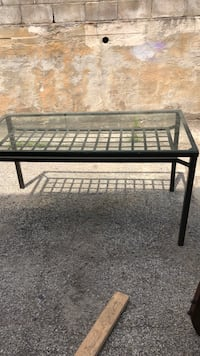 glass-top table with black steel frame New York, 10302