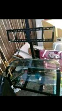 clear glass TV stand with black steel frame Buena Park, 90621