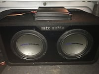"""2 10"""" subs / subwoofers in box, Alpine amp, Sony deck, wiring Thames Centre, N0L 1G3"""
