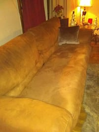 brown suede 3-seat sofa and loveseat
