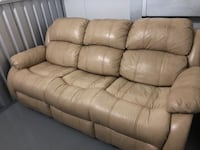 Amazingly cozy, genuine leather reclining sofa in great condition!
