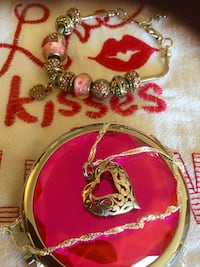 Silver Heart necklace $30 / Pink beads and heart charm bracelet $25 / Cowboy boot earrings $20