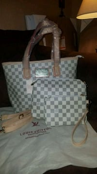 white and gray Louis Vuitton monogram tote bag Midwest City, 73110
