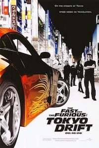 Fast and Furious Tokyo drift movie theater poster