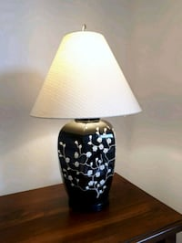 Large black and white floral design lamp.  Woodstock