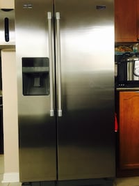 gray side-by-side door refrigerator with interior Oakville, L6M 4A6