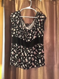 black and white floral scoop-neck sleeveless top Lancaster, 93535