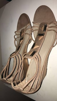 pair of brown-goldish leather open-toe heels Martinsburg, 25404