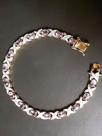 Diamond and Pink Sapphire XO sterling silver bracelet Halethorpe, 21227