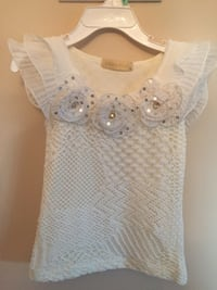 white and gray floral scoop-neck shirt Aurora, L4G