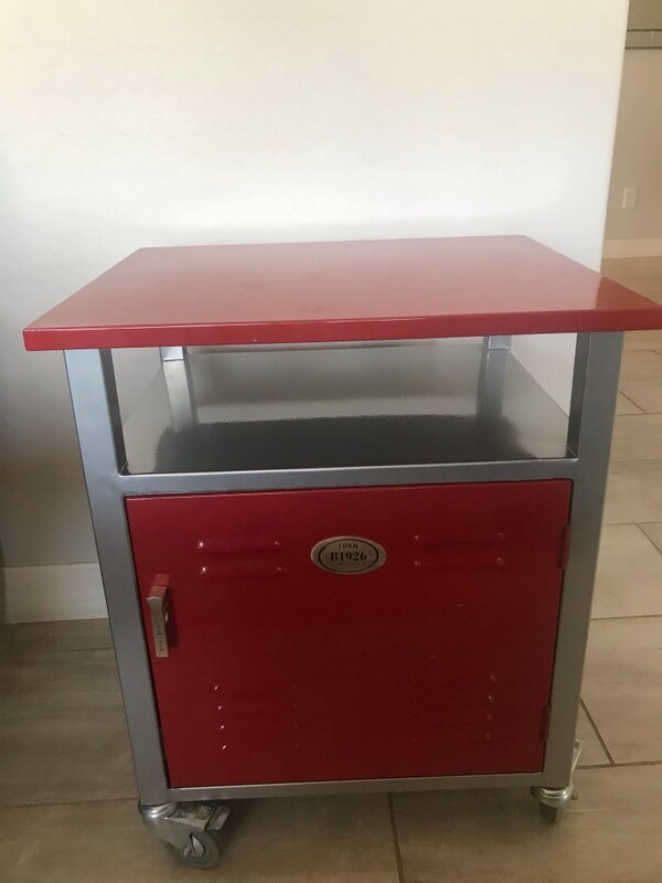 Red Locker Decor Metal Nightstand