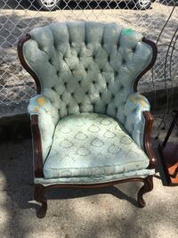 brown wooden framed gray padded armchair Point Edward, N7V 1E3