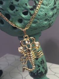 """18k GPL Scorpion Pendant With Chain Necklace 20"""" 4mm"""