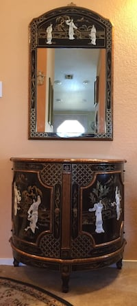 Chinese Chest and framed wall mirror