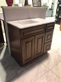 "36"" bathroom vanity solid wood cabinet plywood side with 3/4"" dove tail drawers and Carrara marble Fairfax"