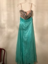 Aqua strapless evening gown with beaded top