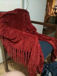 "56"" x 34"" plus Fringe soft red shaw $40 29 km"