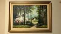 brown wooden framed painting of house Northville, 48167