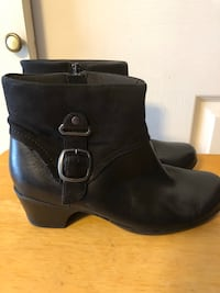 Clark's Bendables Women's Sz 8.5W, Black Leather Ankle Boots Style 62736-Worn 1 time Baltimore, 21236
