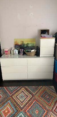 White IKEA dresser and nightstand. Including glass top for dresser West Haven, 06516