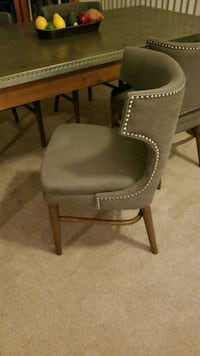brown wooden frame gray padded chair Dallas, 75206