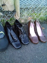 pair of women's brown and black leather pumps Eugene, 97404