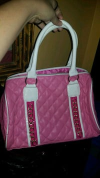 pink and white leather tote bag Winnipeg