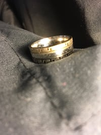 3 tone  black gold and silver ring