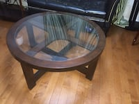 Round wooden Coffee table with glass top $80 Hamilton, L9K 0C5
