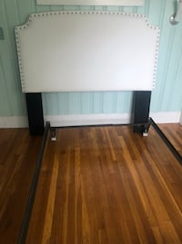 Fabric head board and metal bed frame