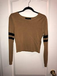 Brown forever21 long-sleeved sweater varsity sleeves Ajax, L1Z 2B6