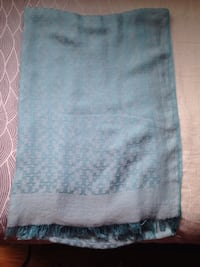 Authentic Tory Burch Light Blue Jacquard Soft Scarf.
