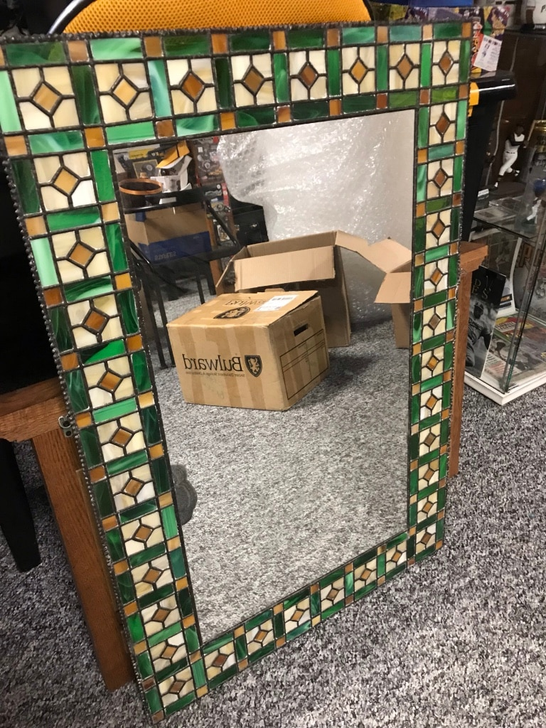 Photo Hand Made Stained Glass Wall Mirror 35 1/4 X 23 1/2