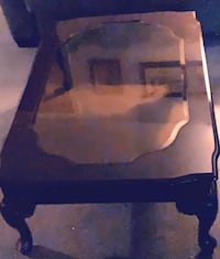 Dining Table/Red Wood , Bebble Glass ..