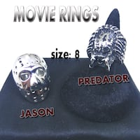 Silver Novelty Movies Rings Size: 8  (Jason Mask (Jason Voorhees) and Predator)  Carmichael