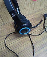 black and blue Logitech corded headset