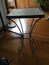black metal base brown wooden top table Vancouver, V6H 4C3